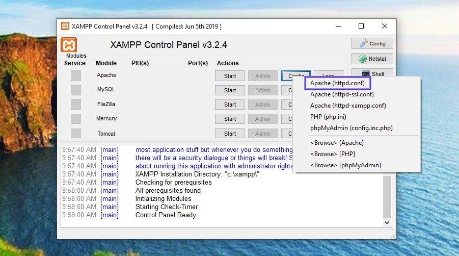 El archivo Apache (httpd.conf) en el panel de control de XAMPP.
