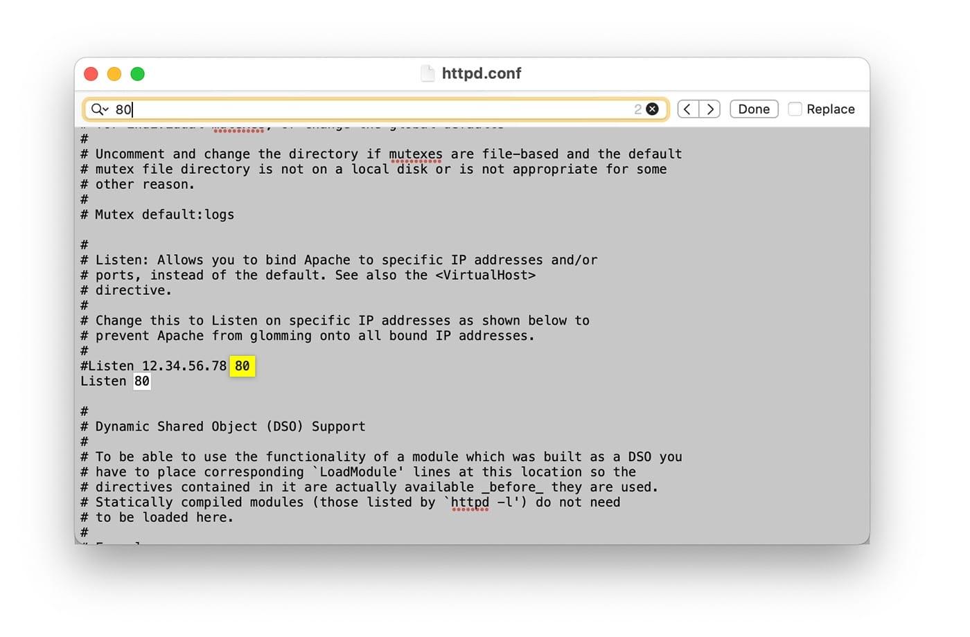 Configuración de puerto del archivo httpd.conf de XAMPP.
