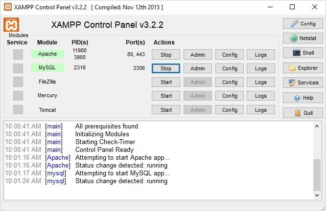 Arrancar Xampp en Windows