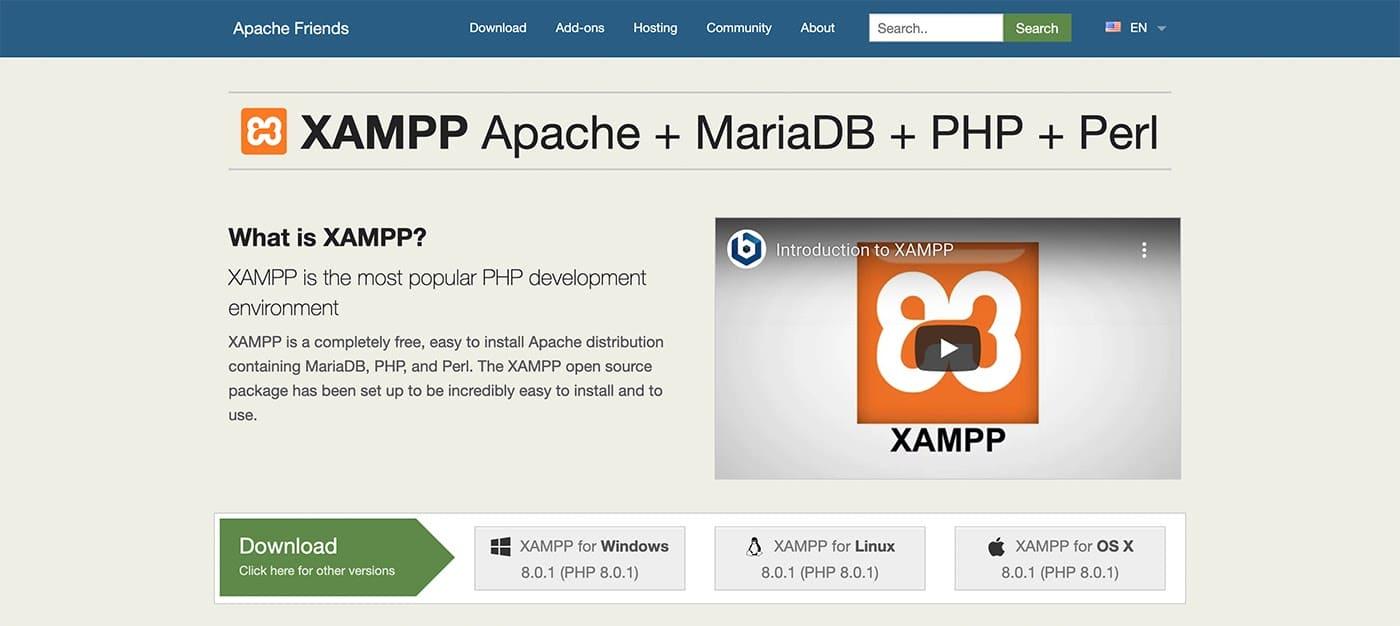 El sitio web de XAMPP.