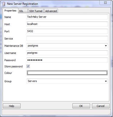 Agregar servidor a pgAdmin