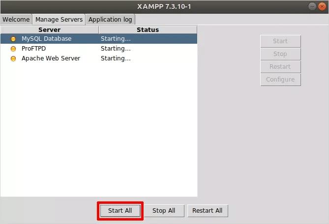 Cómo instalar XAMPP en Linux Iniciar todos los servidores