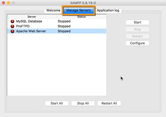 Instalar XAMPP en Mac Selección de Servidor