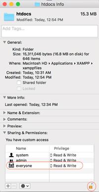Instalar XAMPP en Mac Selección de permisos